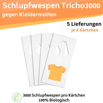 Der Motten-Shop Schlupfwespen gegen Kleidermotten 7 K/ärtchen a 3000 St/ück x 5 Lieferungen