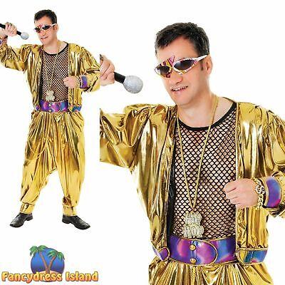 mens fancy dress costume 1980S SUPERSTAR RAPPER HAMMER GOLD LAME One Size