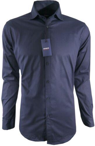 Herren Hemd Blau Regular Freizeit Business Casual Langarm 97/% Baumwolle M-3XL