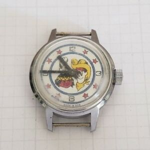 Vintage-wind-up-Cowboy-and-Indian-Character-Watch-for-Repair