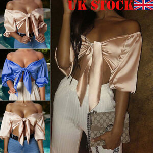 d19e38401f2 UK Womens Ladies Satin Silk Tie Up Knot Flared Sleeved Cropped Top ...