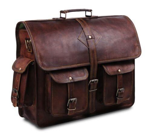 Vintage Leather Laptop Bags for Men Full Grain Lar