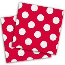 16 Red White Polka Dot Spot Style Party Disposable 5in Paper Beverage Napkins