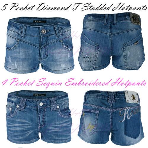Onorevoli Ricamato Denim Hotpants da Donna con Borchie