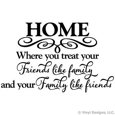 HOME FAMILY FRIENDS QUOTE VINYL WALL DECAL STICKER ART-WORDS HOME DECOR/MURAL