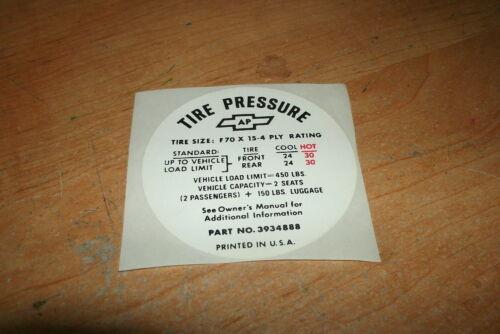 1971 CHEVROLET CORVETTE INTERIOR TIRE PRESSURE SPECIFICATIONS DECAL STICKER NEW