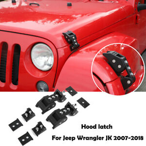 Black Aluminum Anti-Thief Hood Lock Latch for 2007-2018 Jeep Wrangler JK JL Hood Latch Set