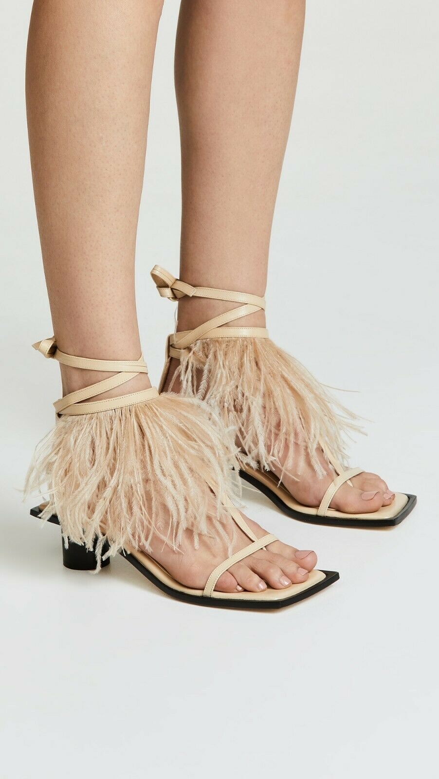 Helmut Lang Gladiator Feather Mid Heel Leather Sandal Sand   565 Authentic