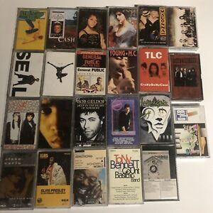 lot of 23 cassette tapes 80's 90's R&b Jazz Pop Tlc Seal Johnny Cash Etc