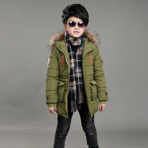 Winter Warm Boys Kids  Hooded Warm Quilted Puffer Coat Jacket School Trendy Park