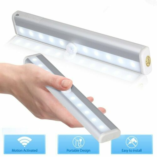 LED PIR Motion Sensor Detector Night Light Lamp Magnetic Strip Battery Operated