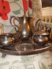 Antique English Poole Silverplate Tea Coffee Pot Service Oval Bar Pierced Tray