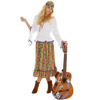 Disco Hippie Kostüm Frauen Karneval Fasching Halloween 70er 60er Jahr Bluse Band