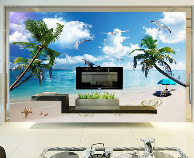 3D Beach Love Sky 5 Wallpaper Murals Wall Print Wallpaper Mural AJ WALL AU Lemon