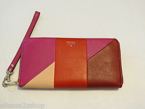 Fossil-SL4952995-Giftable-Patchwork-Zip-Clutch-Wristlet-leather-Scratches
