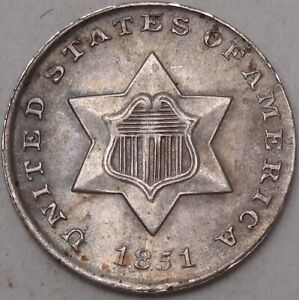 1851-3CS-Toned-3-Cents-Three-Cents-Fish-Scale-Obsolete-Coin-Silver-3991