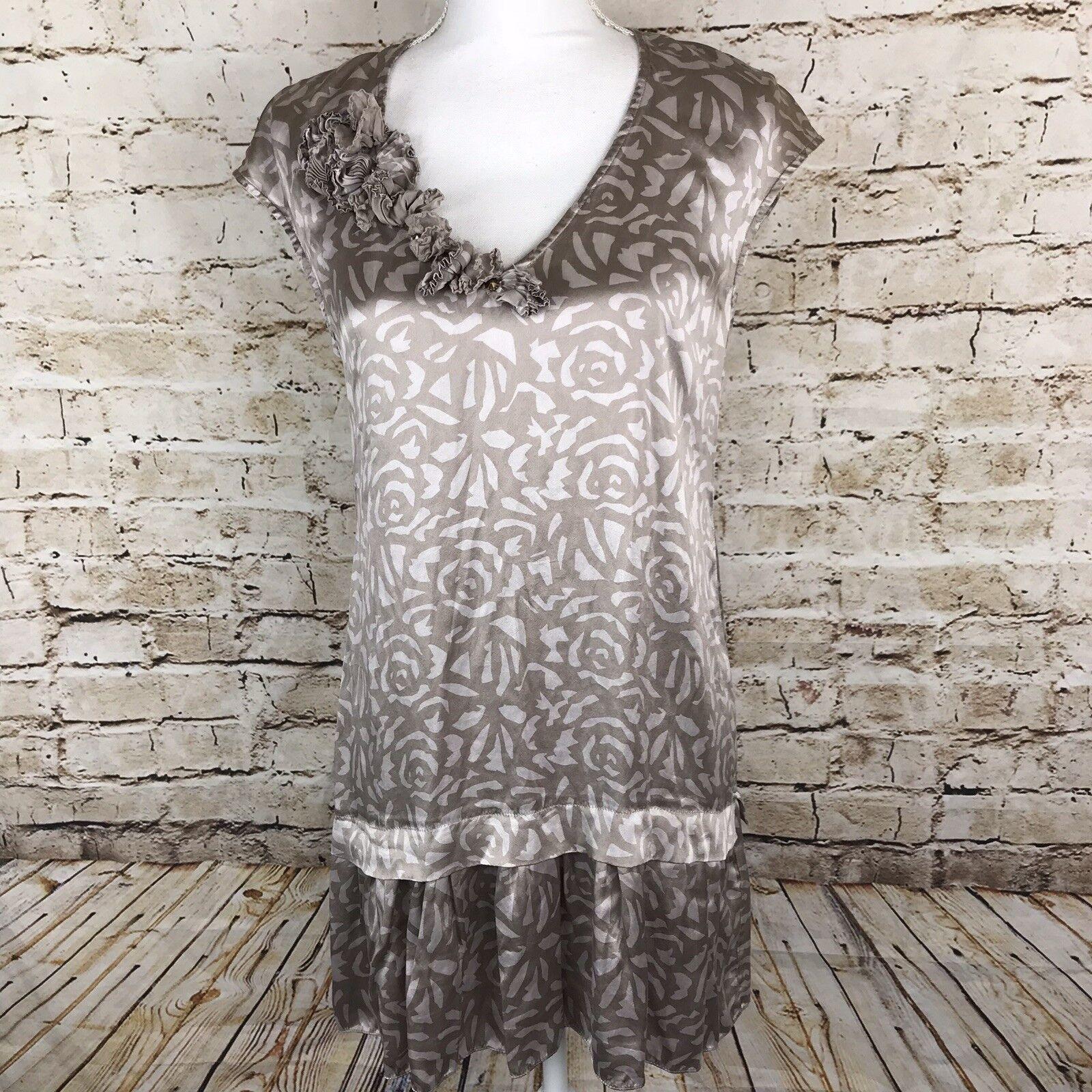 Rebecca Taylor 100% Silk damen Dress US Größe 6 braun Rosa Floral Print Ruffle