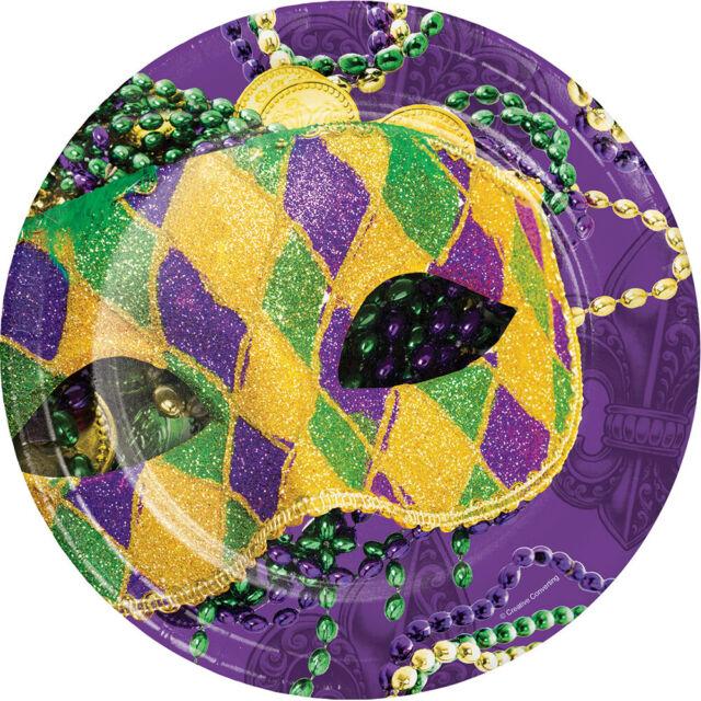 8 23CM MASQUERADE MARDI GRAS DESSERT PLATES Carnival Paper Party Tableware