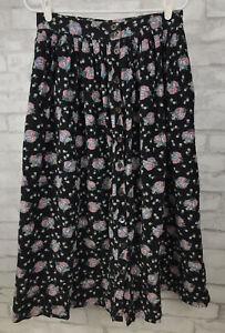 Vintage Allen Solly Modest Corduroy Long Black Floral Skirt Cotton Pockets Sz 14