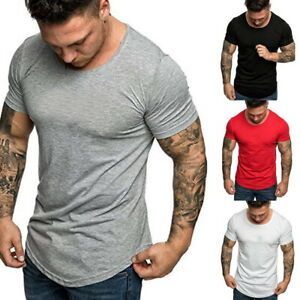 Details about MENS' SUMMER SHORT SLEEVE T-SHIRTS SPORTS FITNESS BASIC TEE  CASUAL SLIM FIT TOPS
