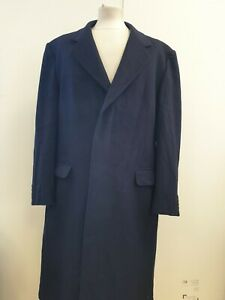 L373 Mens Austin Reed Blue Wool Collared Button Up Overcoat Uk L Eu 52 Ebay