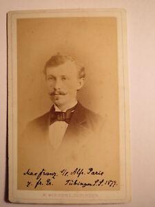 Tübingen-ss 1877-max Franz Comme étudiant-portrait/cdv-afficher Le Titre D'origine