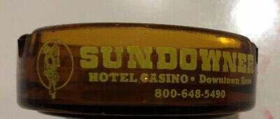 Sundowner Hotel Casino Ashtray vtg Downtown Reno Nevada Amber Glass Ashtray NV | eBay