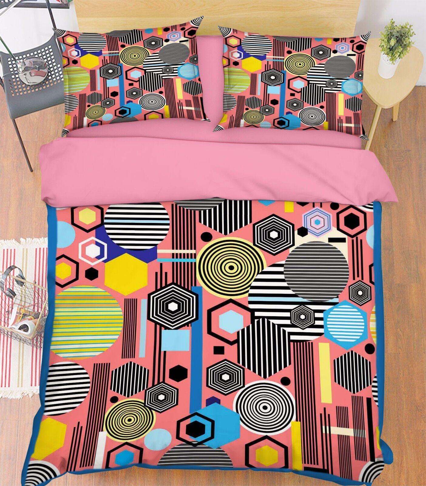 3D Geometrie 637 Bett Kissenbezüge steppen Duvet Decken Set Single DE Sunmmer