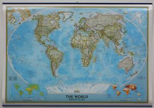 Cartina Mondo National Geographic.National Geographic Laminated World Map With Hanging Strips 111 X 76 Cms Ebay