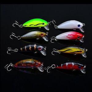 Lot 5pcs Top Water Minnow Fishing Lures Crank Baits Floating Rattles 8cm 5g 66
