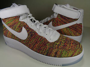 Nike AF1 Ultra Flyknit Mid Multicolor White Crimson SZ 7 Womens 8.5 (817420-700)