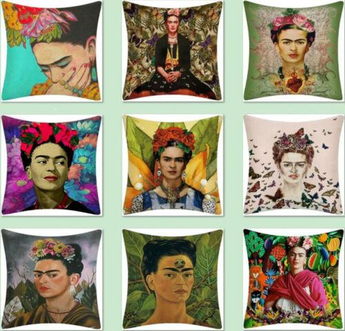 Home Sofa decor Art print Frida Kahlo Linen Cushion cover Pillowcase 45x45cm