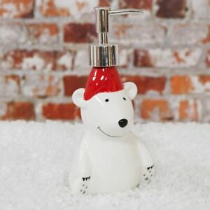 CHRISTMAS-POLAR-BEAR-SOAP-DISPENSER-WITH-CHROME-FINISHED-PUMP-RED-HAT-REUSABLE