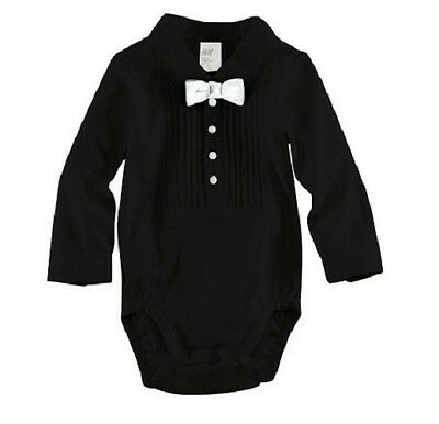 Baby Boy Suit Black White Tie Wedding Christening Formal Tuxedo Romper Outfit