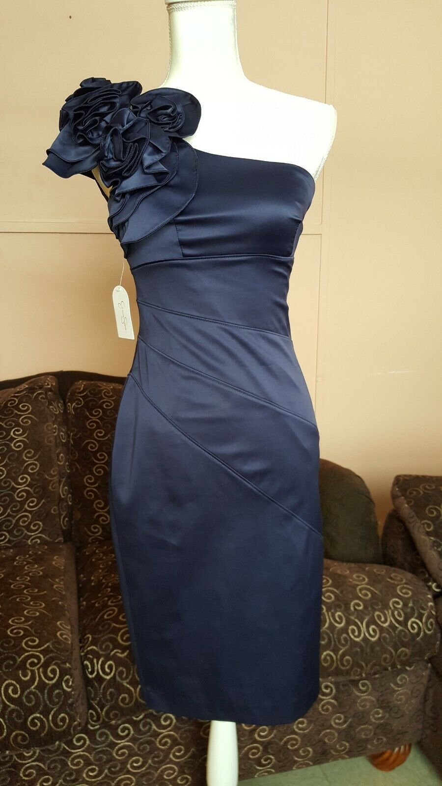 New Jessica Simpson Navy Sleeveless Floral Embossed Embossed Embossed Dress Size 2 d1fd20