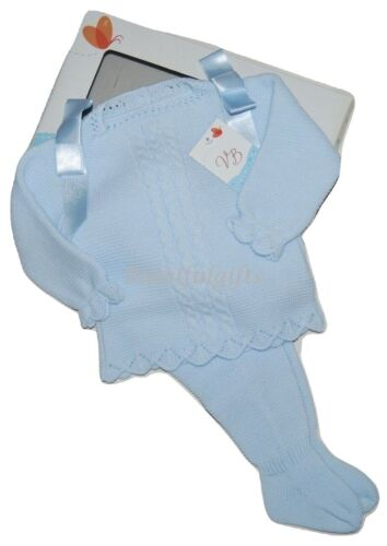 Baby Boys Girls Spanish Sky Blue Ribbon Cable Jumper /& Trousers Suit