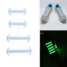 14pc/Set Fluro Luminous No Tie Silicone Shoelaces Trainers Shoe Strings Blue