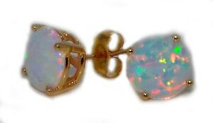 Opal 8mm Round Stud Earrings 14Kt Yellow Gold