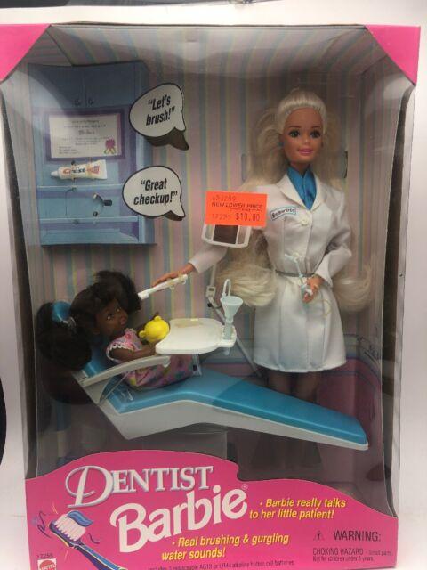 Vintage Dentist Blonde Barbie Doll With Blonde Child 1997 Mattel New in Box NRFB