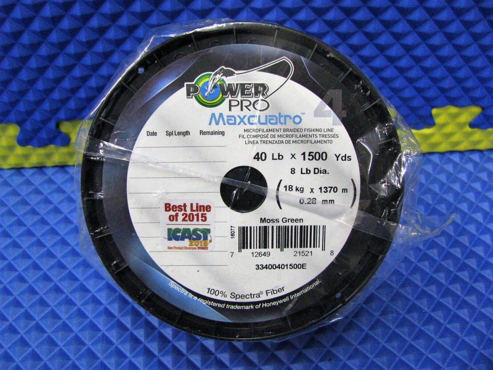 PowerPro Maxcuatro Microfilament Braided Fishing Line 40LB 1500Yds Moss Green