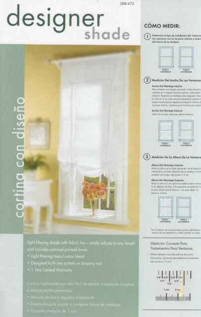 """2 NEW White Designer Window Shade Curtain drape 36/""""X75/"""""""