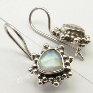 RAINBOW-MOONSTONE-Stone-HEART-Oxidized-Earrings-0-8-034-925-Solid-Silver-Jewellery