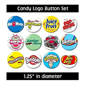 Image Is Loading CANDY LOGO BUTTONS Set 2 Pins Badges Cute