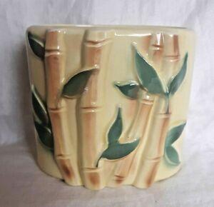 Vtg-Royal-Copley-Ceramic-Planter-Yellow-Bamboo-Pattern