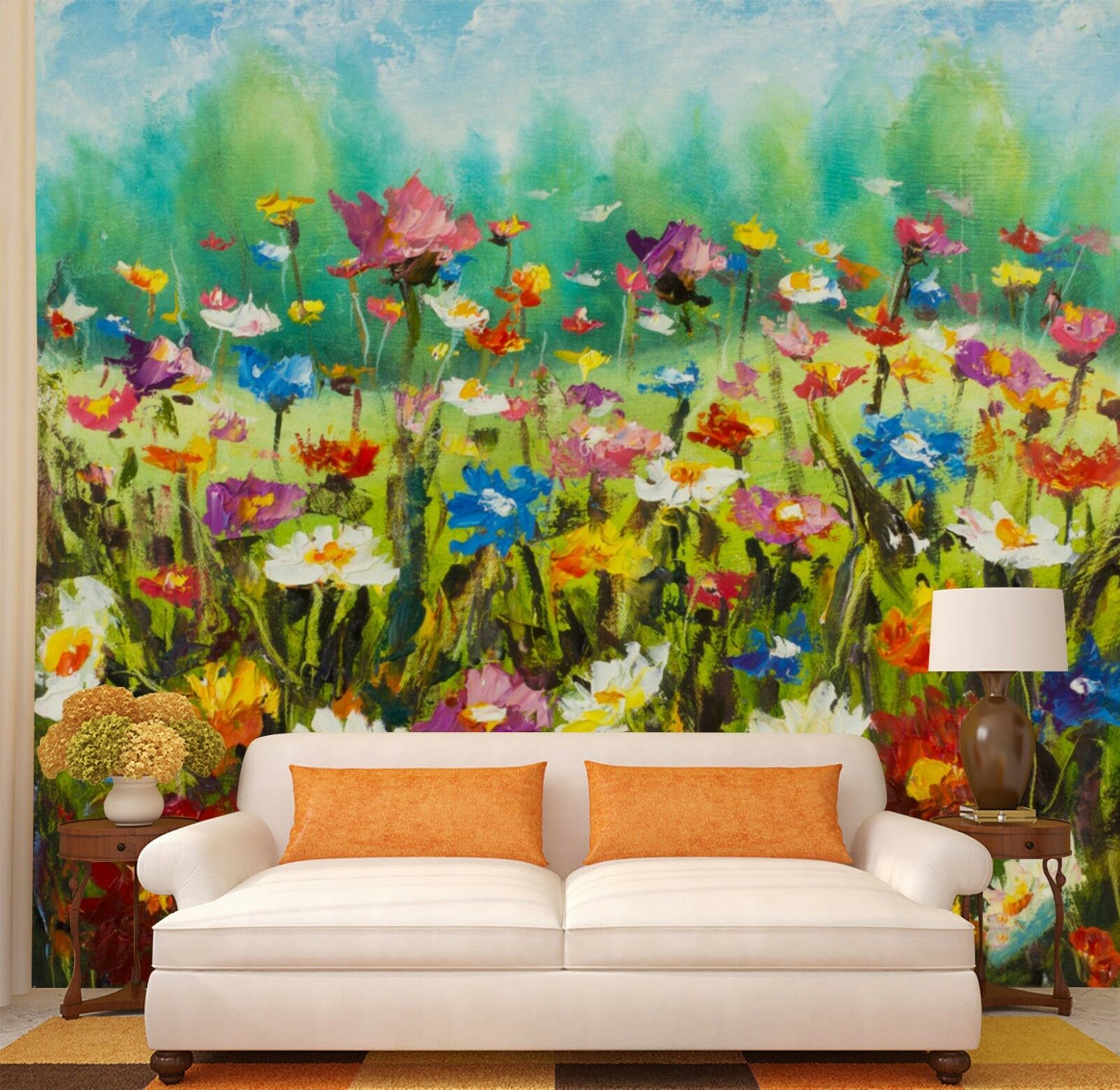 3D Painted Flower field Wall Paper Print Decal Wall Deco Indoor wall Mural