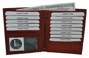 GENUINE-LEATHER-HIPSTER-WALLET-BROWN-NEW-13-CREDIT-CARD-SLOTS-GREAT-GIFT-IDEA
