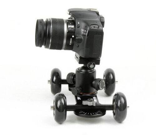 Black Slider 4 Wheel Desktop Camera Rail Table Dolly Car For DSLR Video
