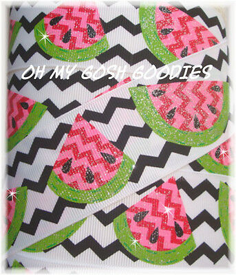 1.5 GLITTER CHEVRON WATERMELON RED PINK LIME SEEDS GROSGRAIN RIBBON 4 HAIRBOW