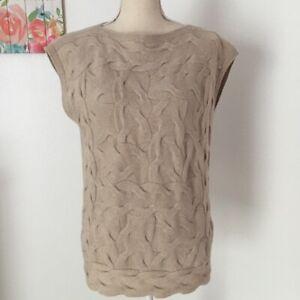 Lafayette-148-New-York-Womens-SZ-Small-Petite-Knit-Sweater-Top-100-Cashmere-Tan