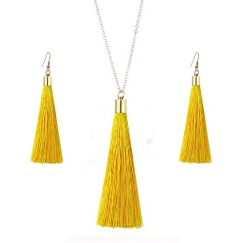 LADIES WOMENS BOHO FASHION TASSEL CRYSTAL PEARL NECKLACE AND EARRING SETS UK